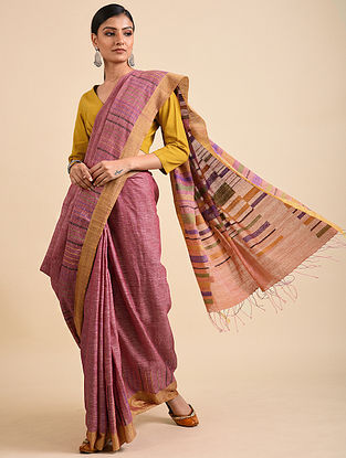 Pink-Brown Handwoven Jamdani Linen Saree