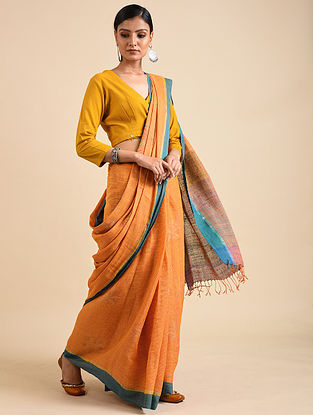 Orange-Blue Handwoven Jamdani Linen Saree