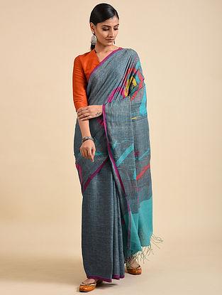 Grey-Blue Handwoven Jamdani Linen Saree