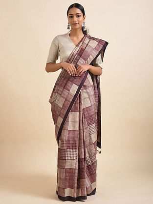 Red-Beige Handwoven Block Printed Silk Saree