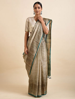 Beige Handwoven Block Printed Silk Saree