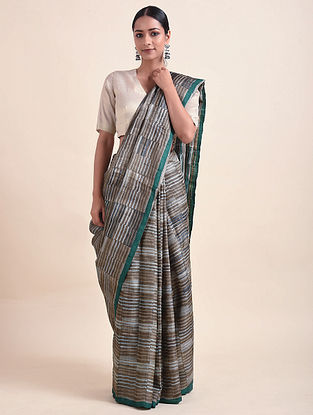 Grey-Brown Handwoven Block Printed Silk Saree