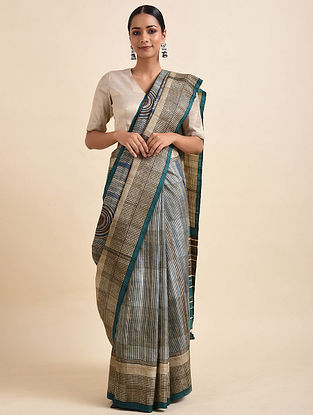 Brown-Blue Handwoven Block Printed Silk Saree