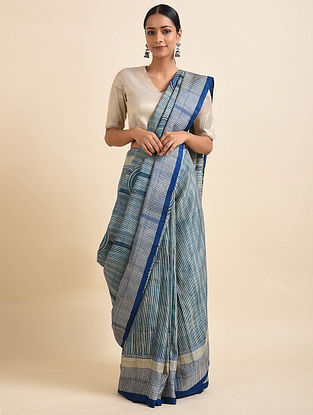 Blue Handwoven Block Printed Silk Saree