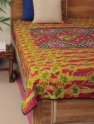Pink-Green Kantha-embroidered Cotton Single Bedcover