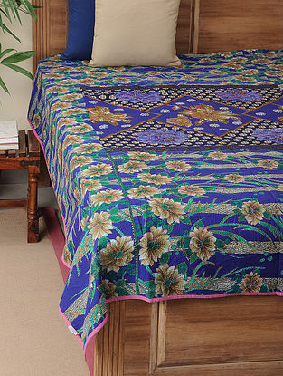 Blue-Green Kantha-embroidered Cotton Single Bedcover