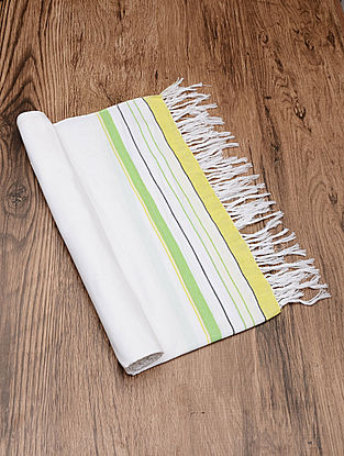 White-Green Handloom Cotton Utility Towel 70in x 40in