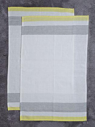 White-Yellow Striped Cotton Kitchen Towels (Set of 2)
