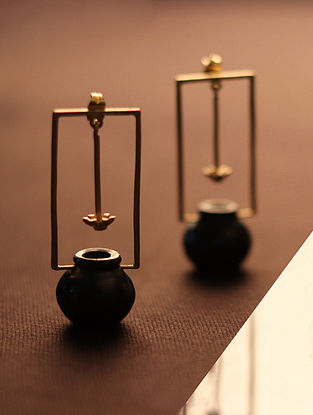 Black Gold Tone Terracotta and Brass Earrings