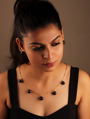 Black Gold Plated Terracotta and Brass Necklace