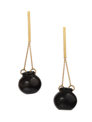 Black Gold Plated Handcrafted Necklace with Earrings