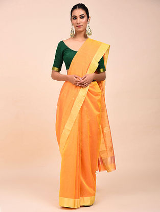 Orange Handwoven Chanderi Saree