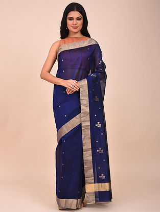 Blue Handwoven Chanderi Saree