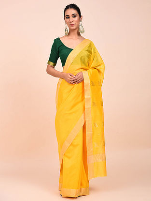 Yellow Handwoven Chanderi Saree