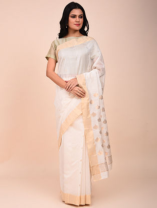 White Handwoven Chanderi Saree