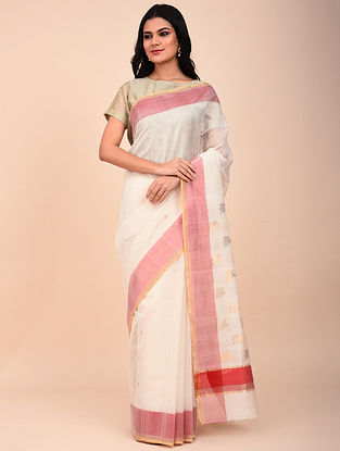 White-Pink Handwoven Chanderi Saree