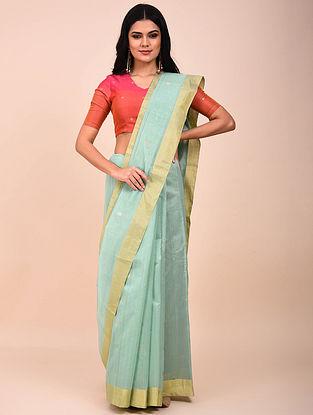Turquoise Handwoven Chanderi Saree