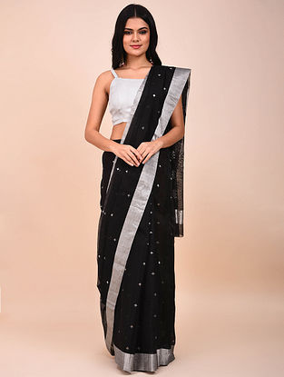 Black Handwoven Chanderi Saree