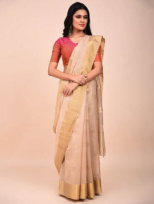 Beige Handwoven Chanderi Saree