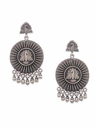 Tribal Silver Earrings with Peacock Motif