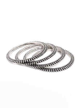 Tribal Silver Bangles (Bangle Size - 2/6) (Set of 4)