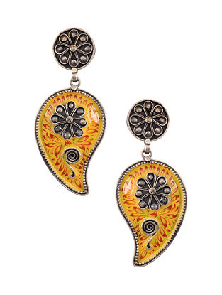 Yellow Red Enameled Silver Earrings