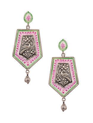 White Pink Enameled Silver Earrings
