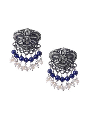 Tribal Silver Earrings with Pearls and Lapis Lazuli