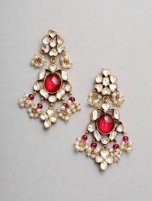 Maroon Gold Tone Kundan Silver Earrings with Pearls