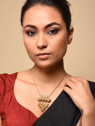 Gold Plated Tribal Silver Pendant with Chain