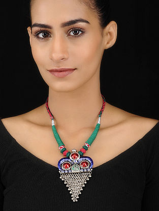Blue-Red Enameled Tribal Silver Necklace