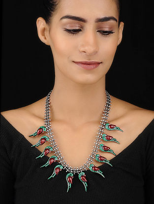 Red-Green Enameled Tribal Silver Necklace with Bird Design