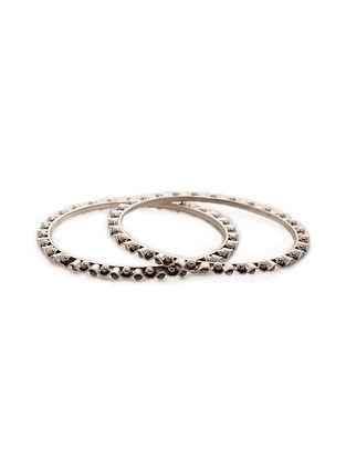 Tribal Silver Bangles (Set of 2) (Bangle Size -2/6)