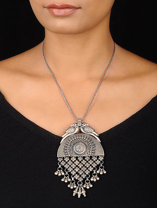 Tribal Silver Pendant with Floral Design