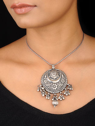 Tribal Silver Pendant with Floral Motif