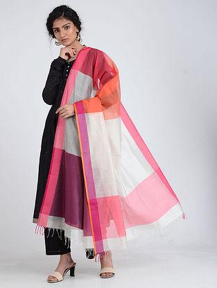Ivory-Pink Silk Cotton Dupatta
