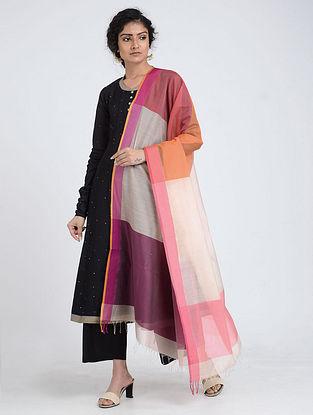 Ivory-Purple Silk Cotton Dupatta with Zari