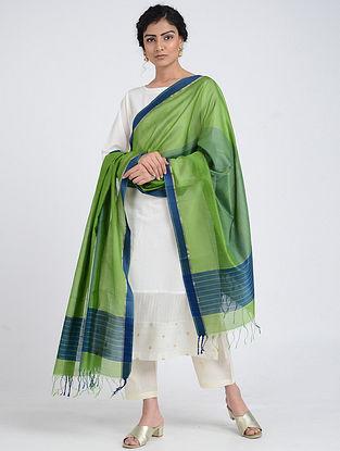 Green-Blue Silk Cotton Dupatta with Zari