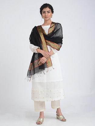 Black Silk Cotton Dupatta with Zari