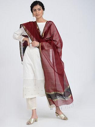 Red Silk Cotton Dupatta with Zari