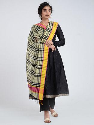 Yellow-Black Silk Cotton Dupatta