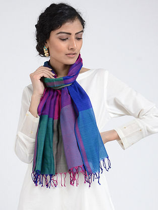 Blue-Green Silk Cotton Stole