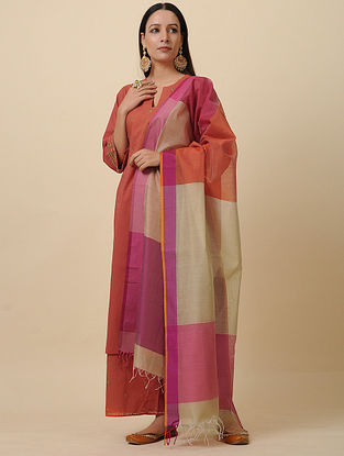 Ivory-Purple Handwoven Silk Cotton Dupatta