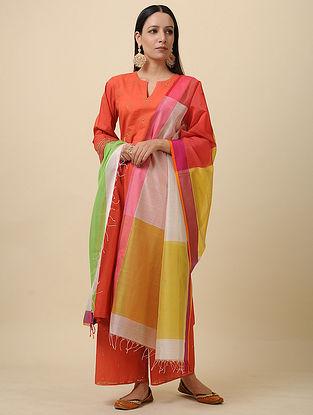 Ivory-Yellow Handwoven Silk Cotton Dupatta