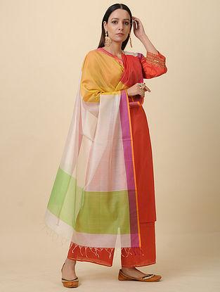 Ivory-Green Silk Cotton Dupatta