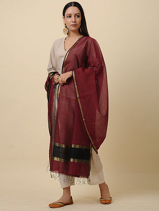 Maroon-Black Silk Cotton Dupatta