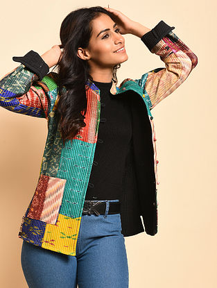 Heidi Multicolored Quilted Cotton-Silk Reversible Jacket
