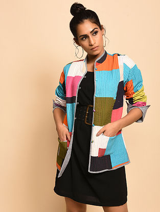 Helenka Multicolored Quilted Cotton Reversible Jacket
