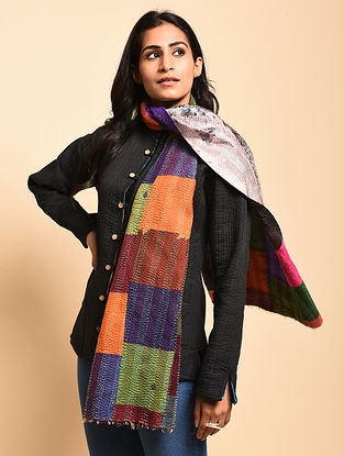 Shanon Multicolored Kantha-Embroidered Silk Stole
