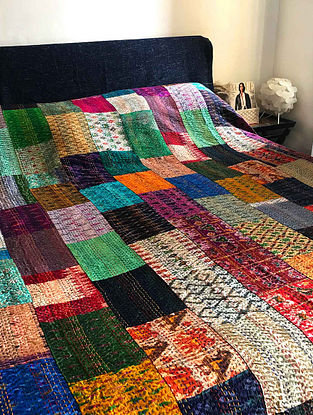 Jeffrey Kantha Embroidered Multicolored Patola Silk Double Bed Cover with Patch Work (108in x 90in)